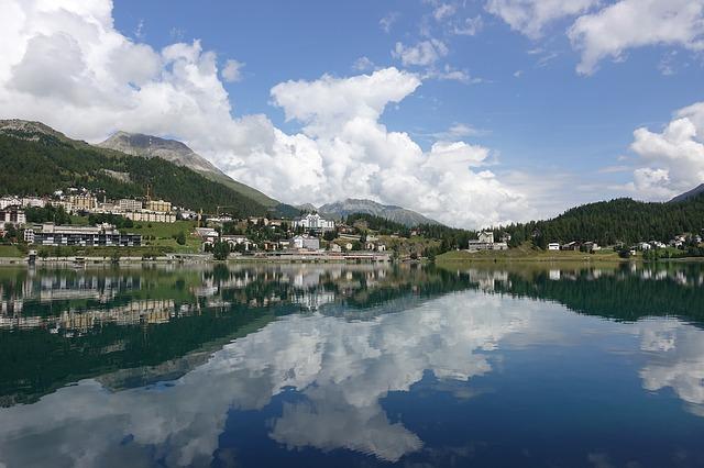 swiss mountain lake st. moritz